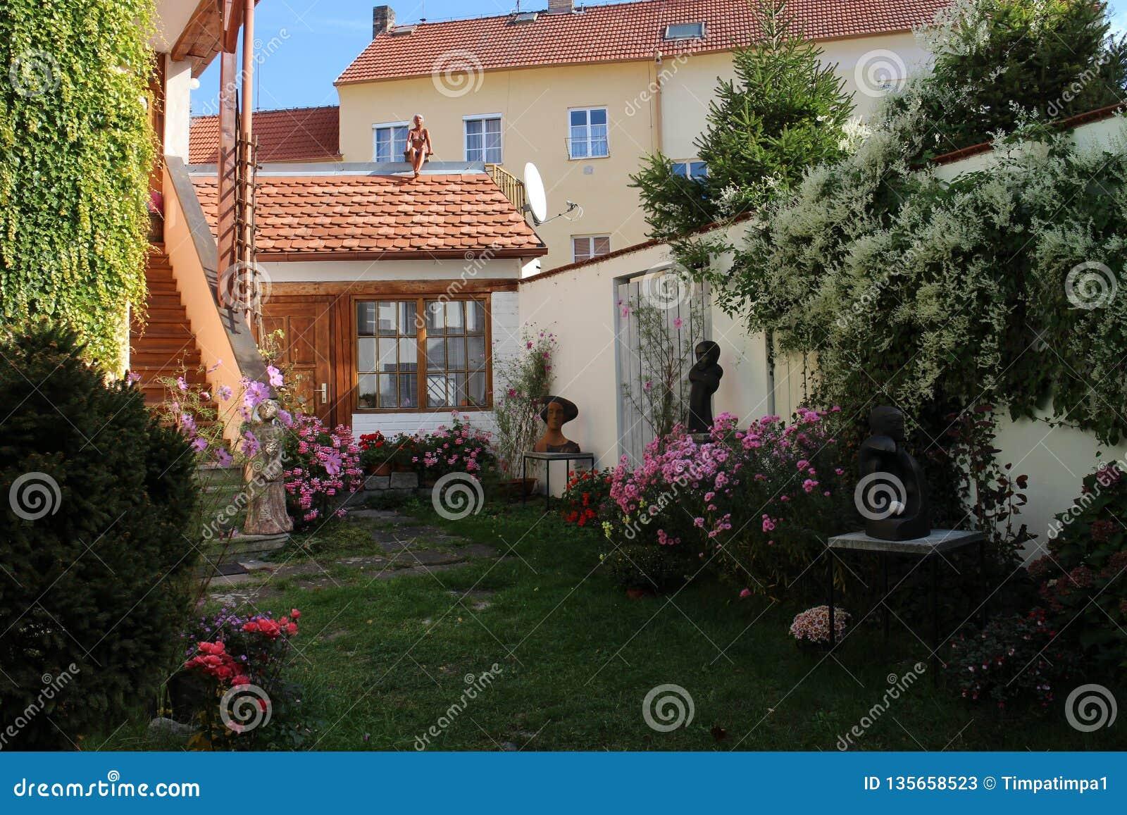 Small courtyard of family house in centre of České Budějovice, South Bohemia