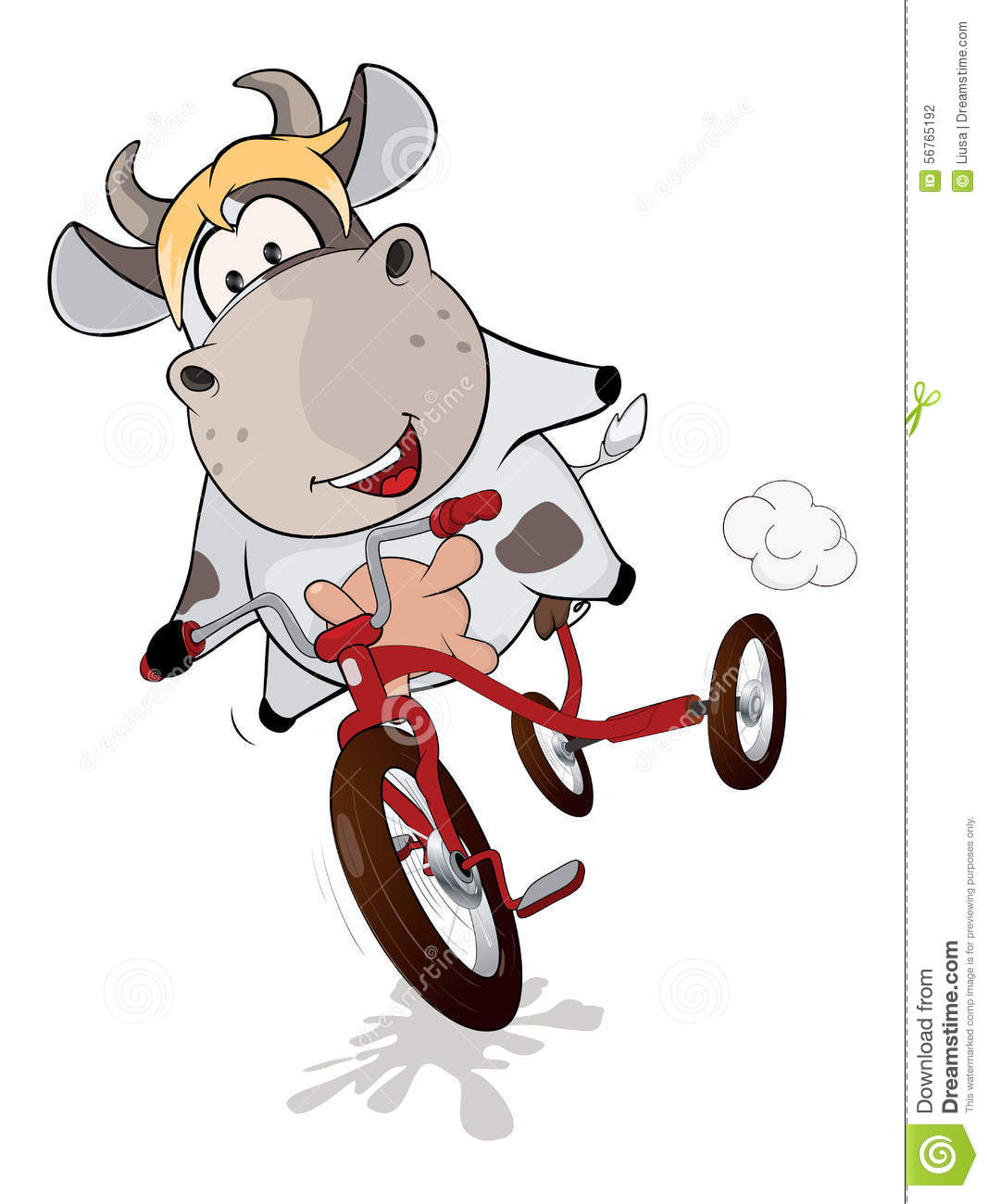 a small cow and tricycle cartoon stock illustration cow vector png cow vector free