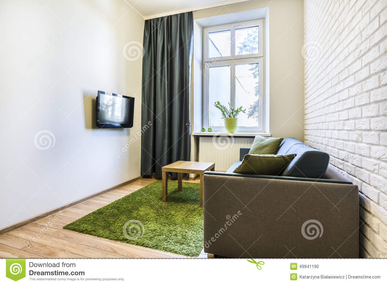 Small and cozy living room with green carpet