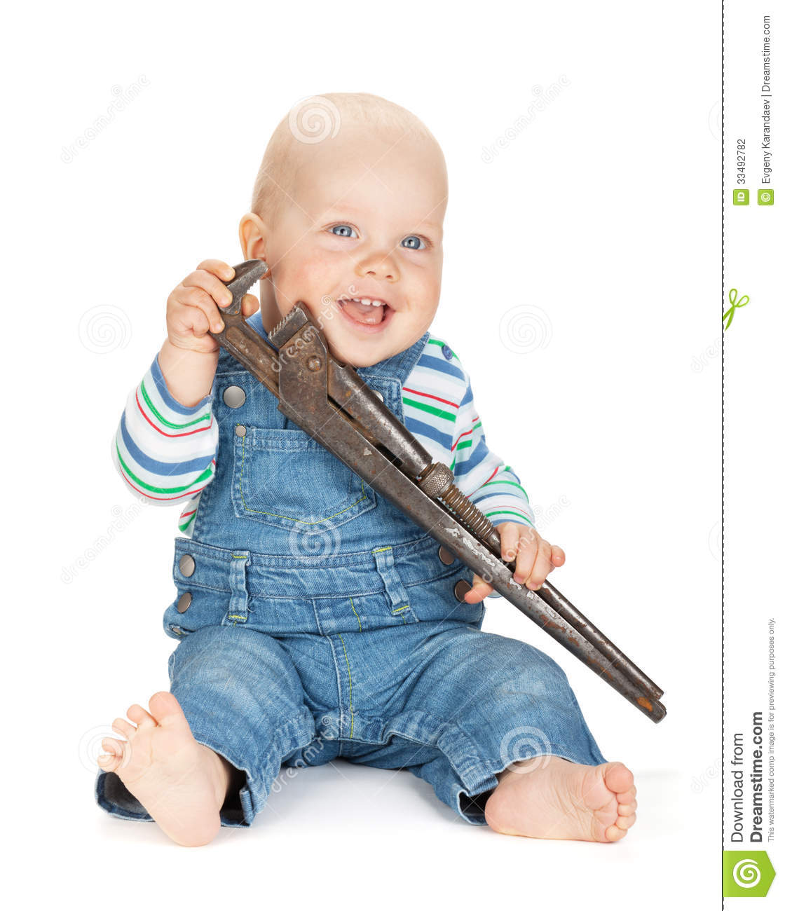 20501a15b7c Small Cute Baby Boy Worker In Jeans Stock Photo - Image of baby ...