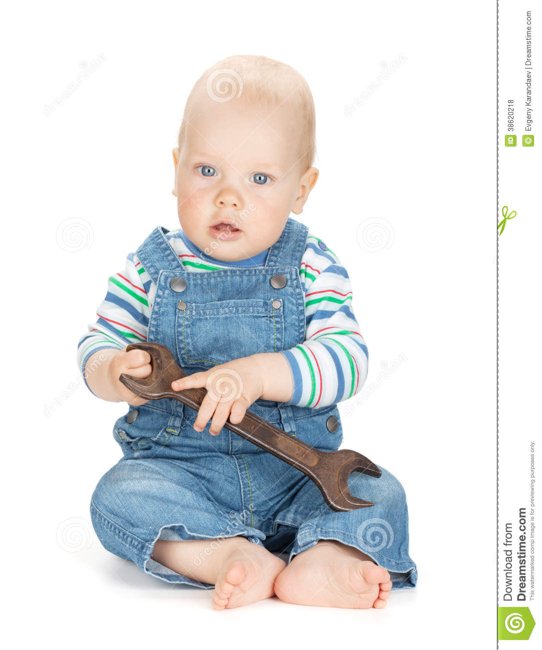 48200c01255 Small cute baby boy worker in jeans. Isolated on white background. More  similar stock images