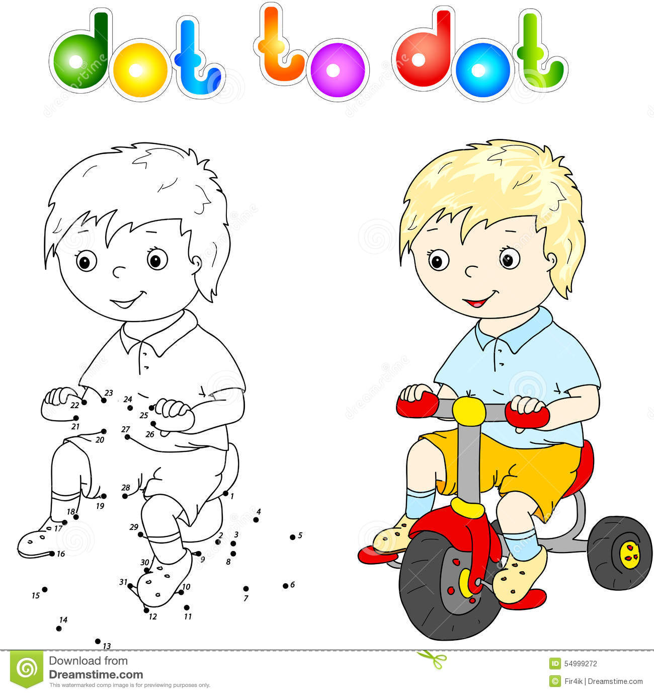small cute boy riding a bicycle stock vector image 54999272