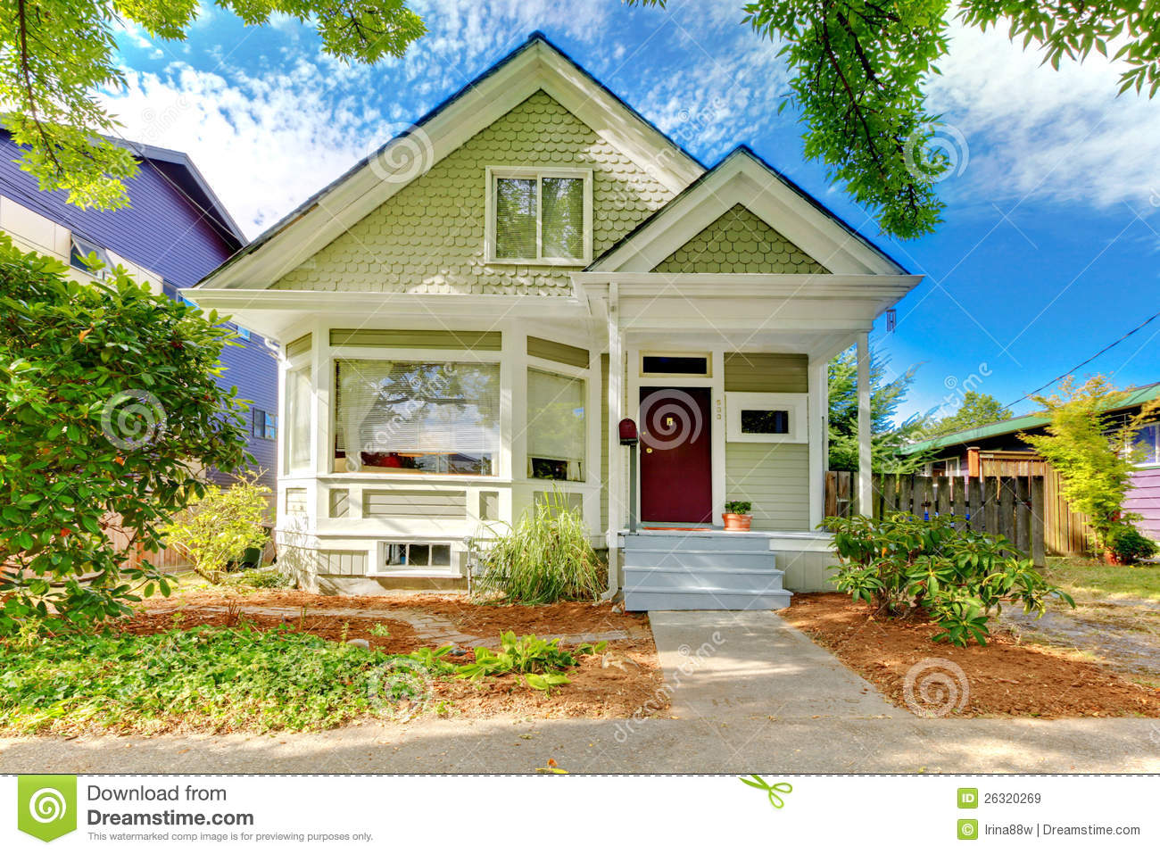 Small Cute Craftsman American House Stock Image Image