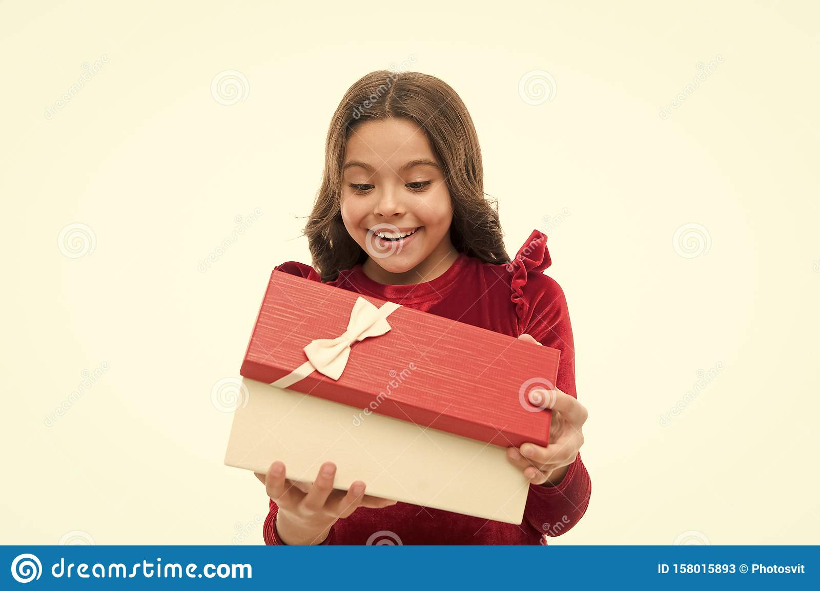 Small Cute Girl Received Holiday Gift. What Is Inside ...