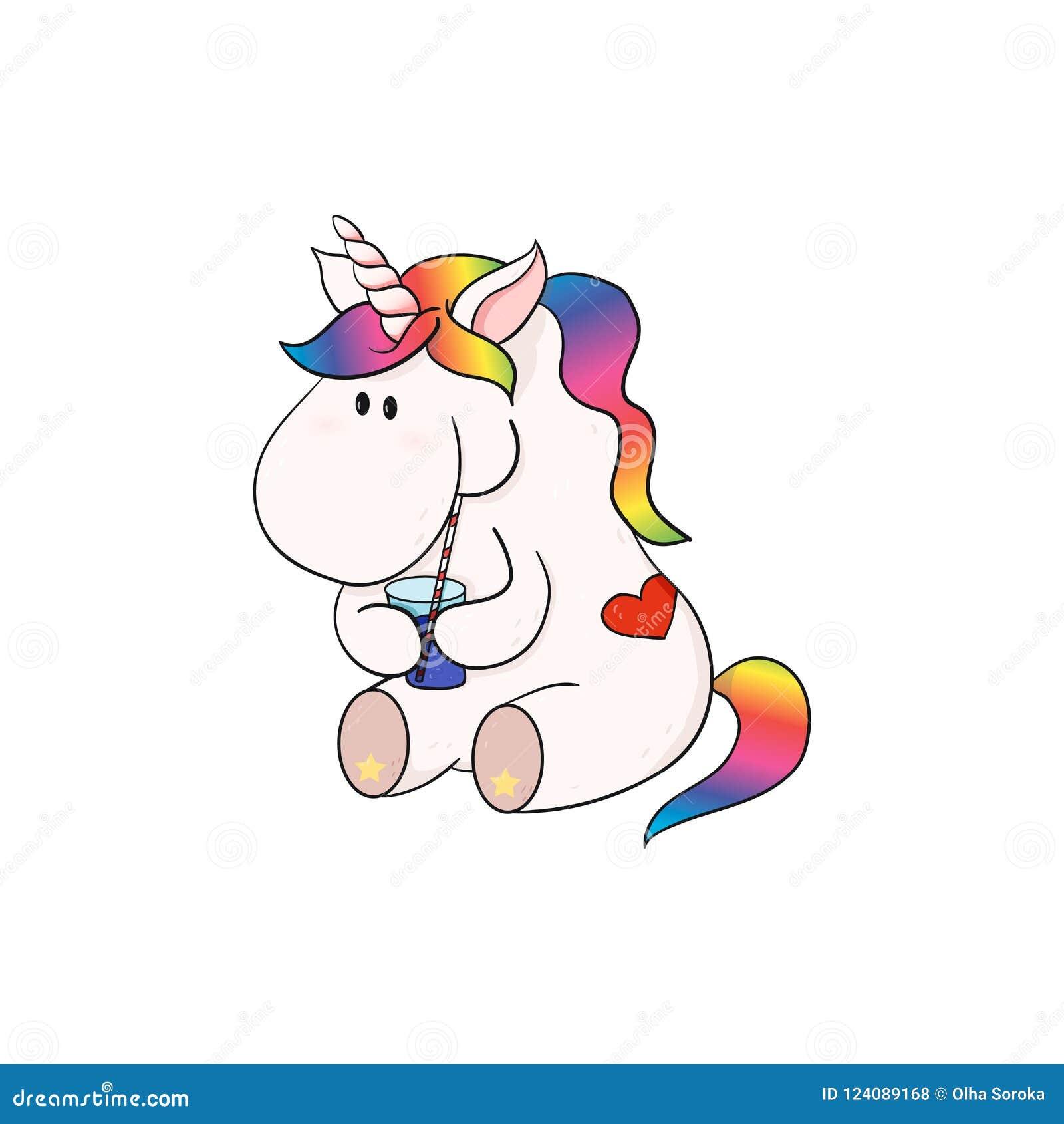 Cute Comic Unicorn Drink Cocktail Happy Cute Fat Horse Stock