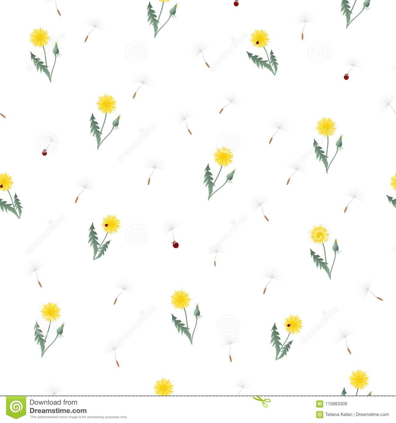 Small Dandelion Yellow Flowers And Red Ladybugs Seamless Pattern