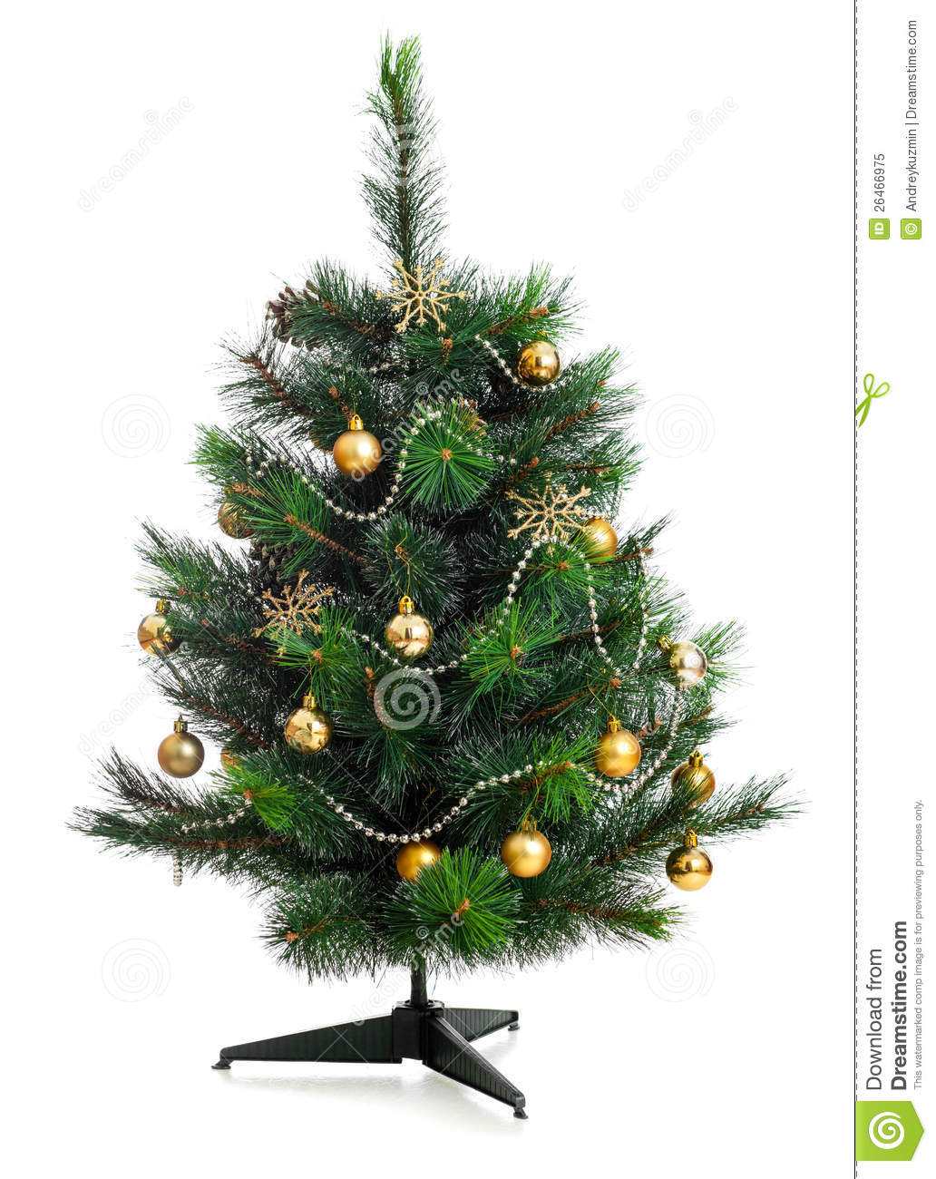 Small Decorated Christmas Tree Isolated Stock Image