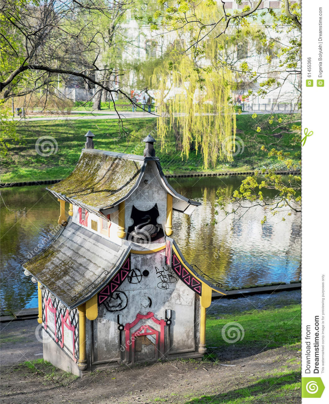 Small Decorative Chinese House In Bastejka Park Editorial