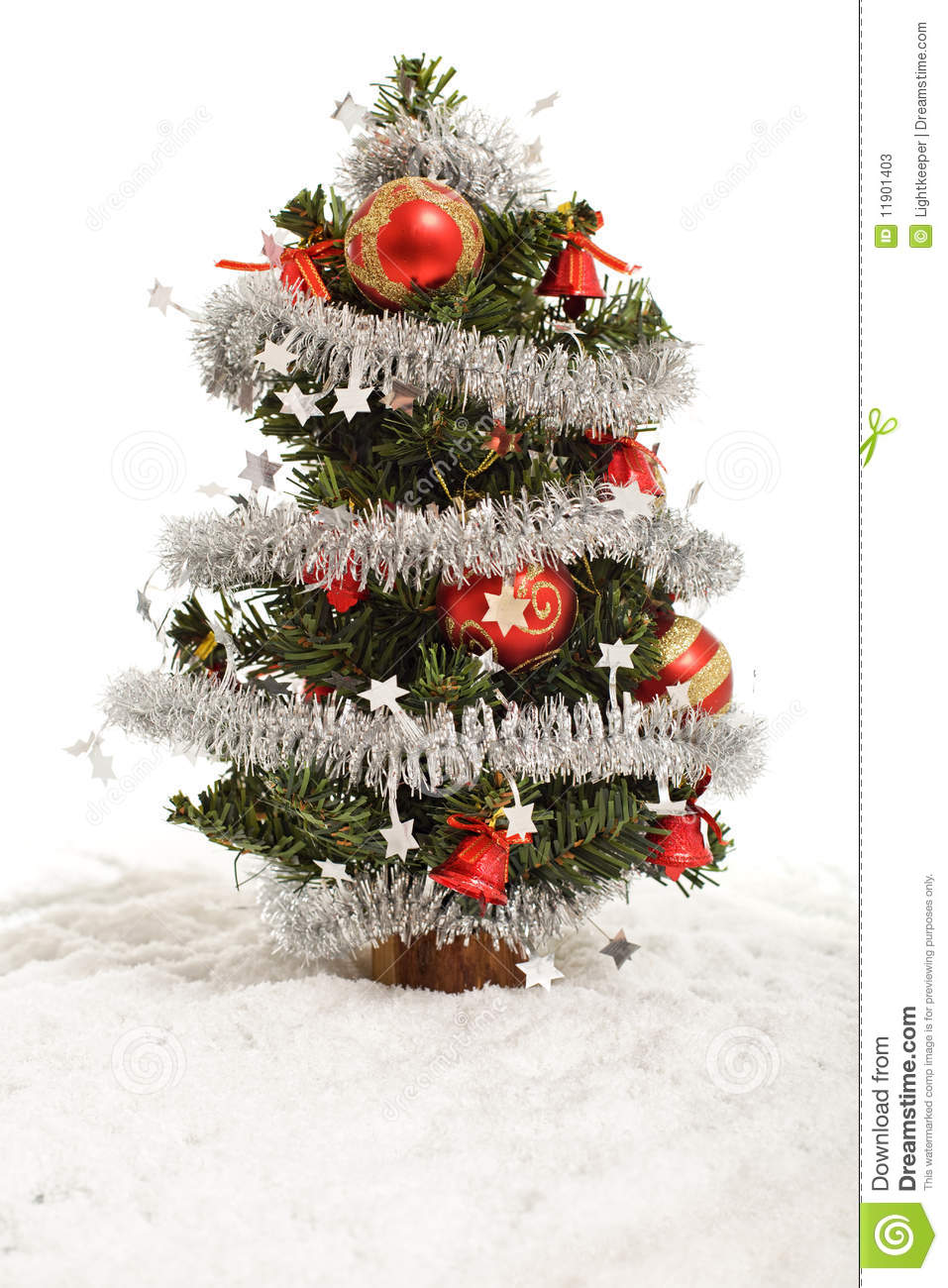 ... stock images of ` Small decorative christmas tree in artificial snow