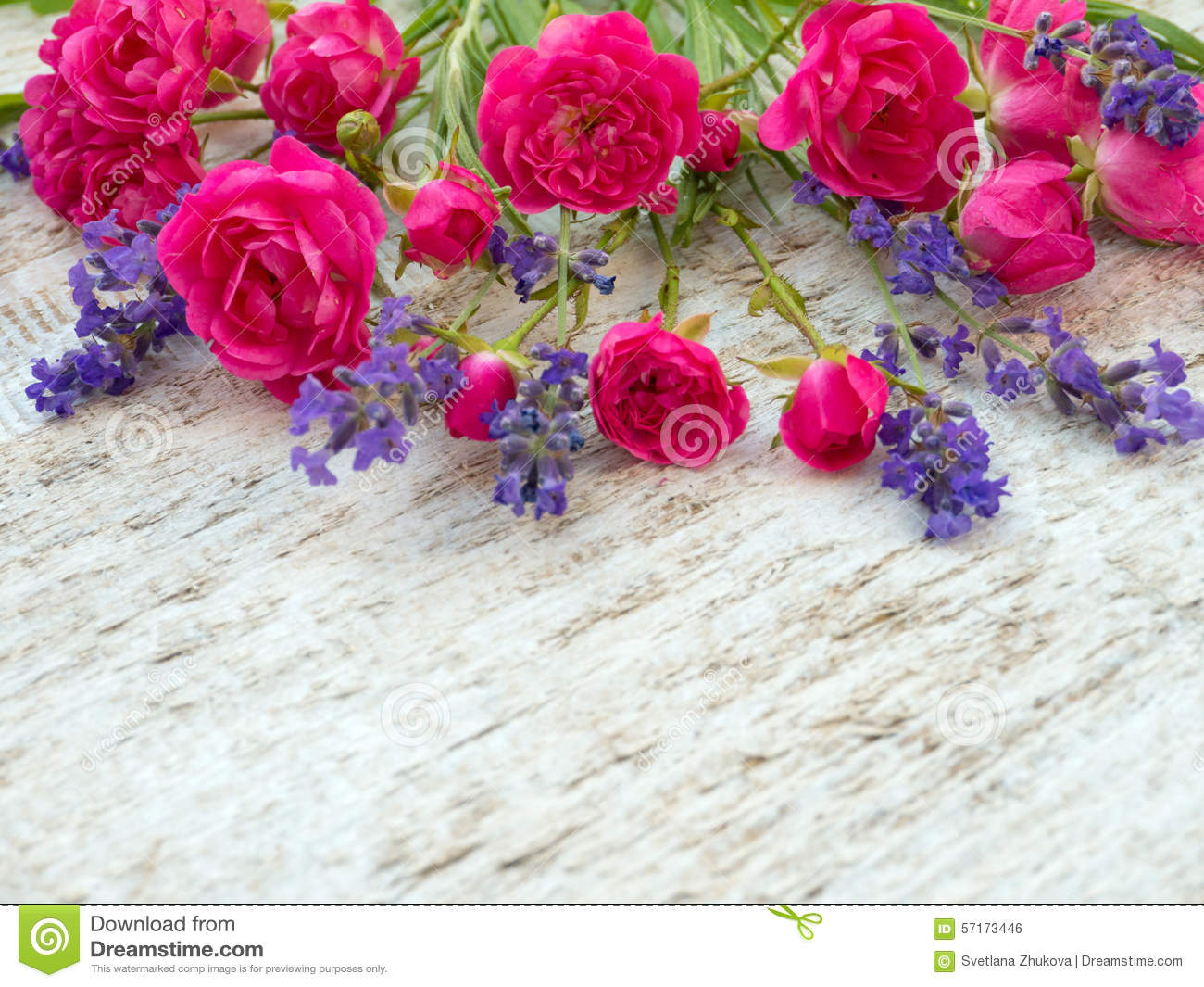 Small deep pink roses and provence lavender bouquet stock - Deep pink wallpaper ...