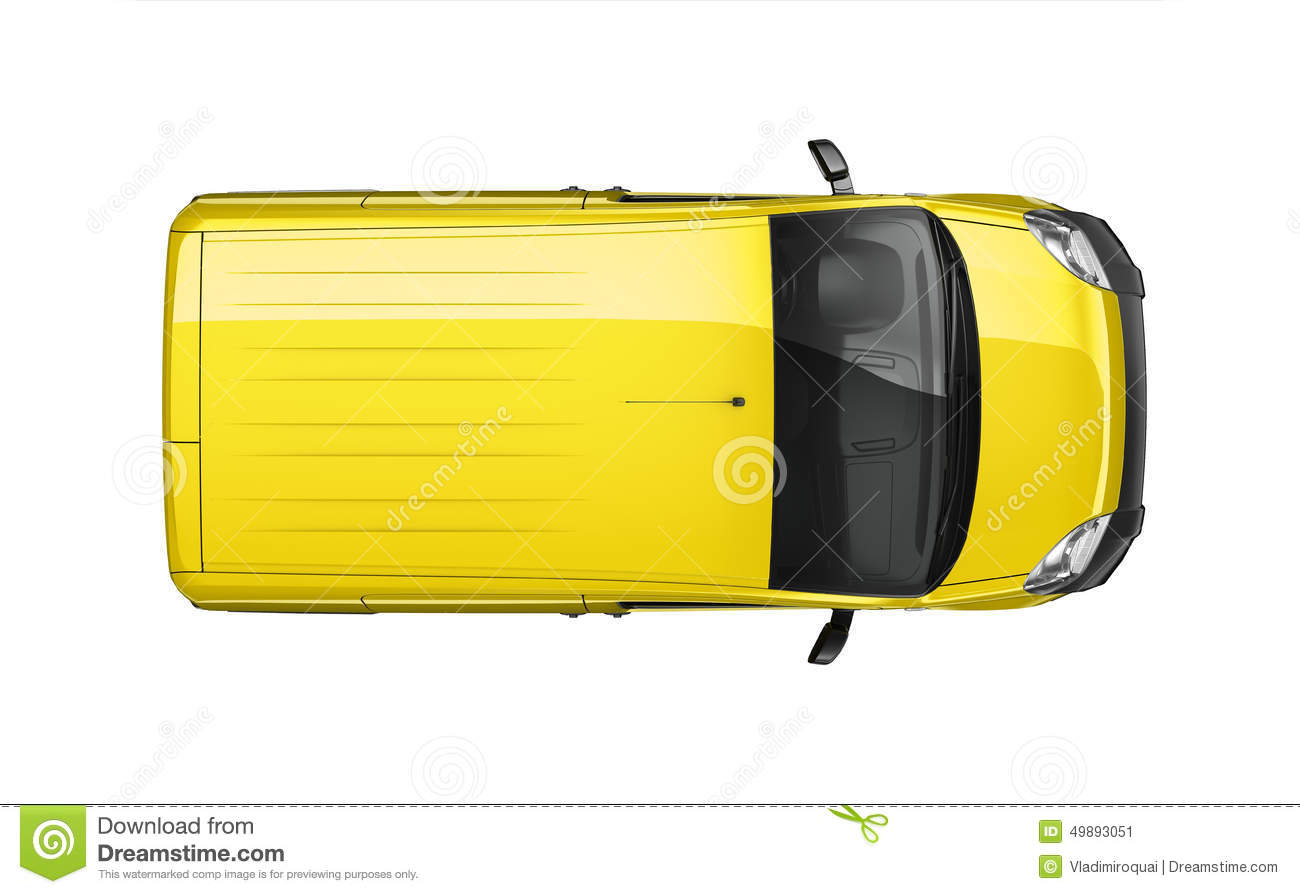 Small Delivery Yellow Van - Top View Stock Illustration - Image ...