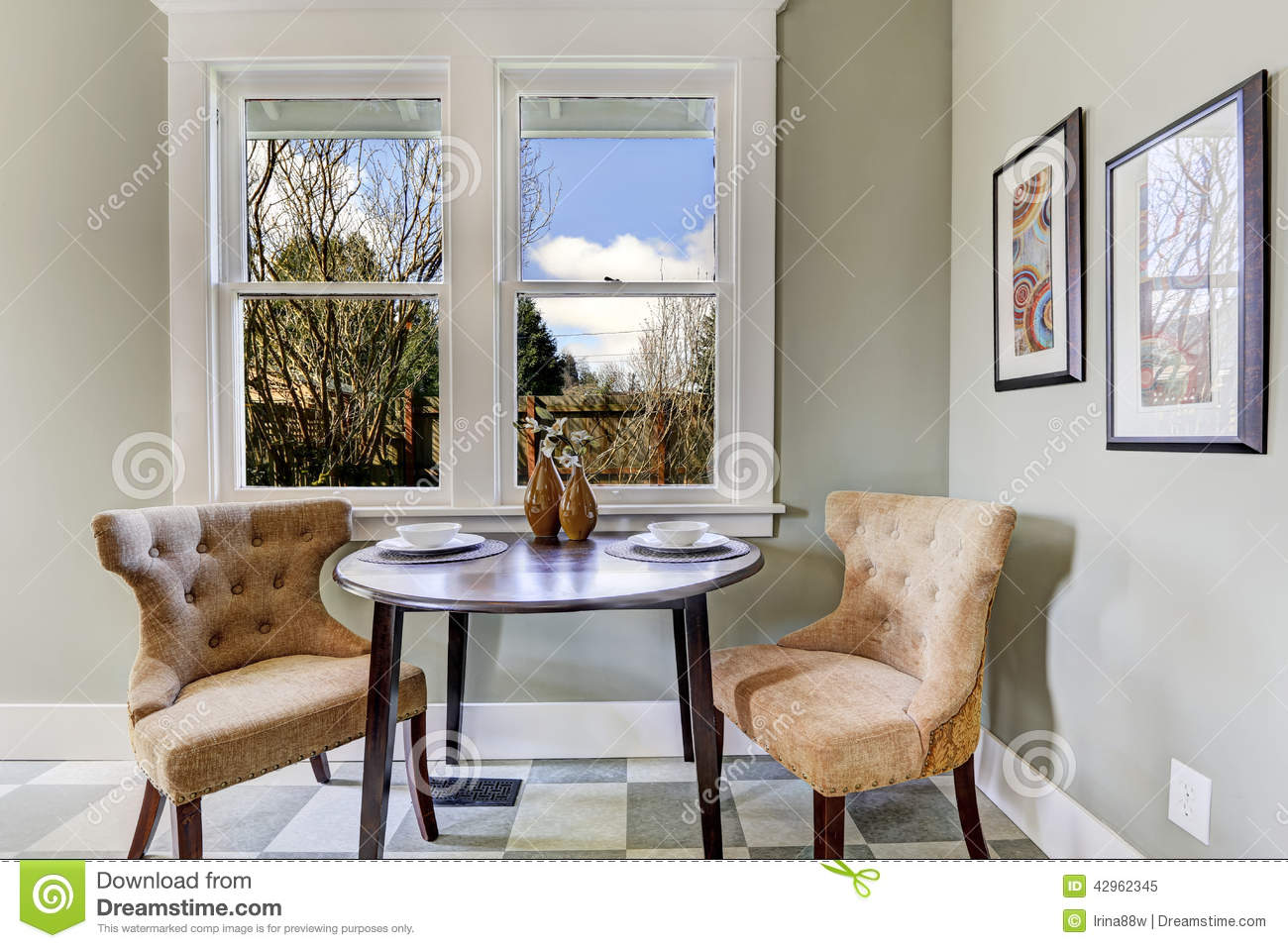 Small Dining Area In Kitchen Room Stock Photo Image
