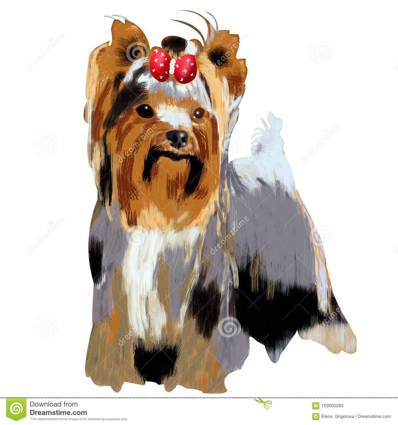 Small Dog A Yorkshire Terrier Illustration Of Isolated Cute Lit