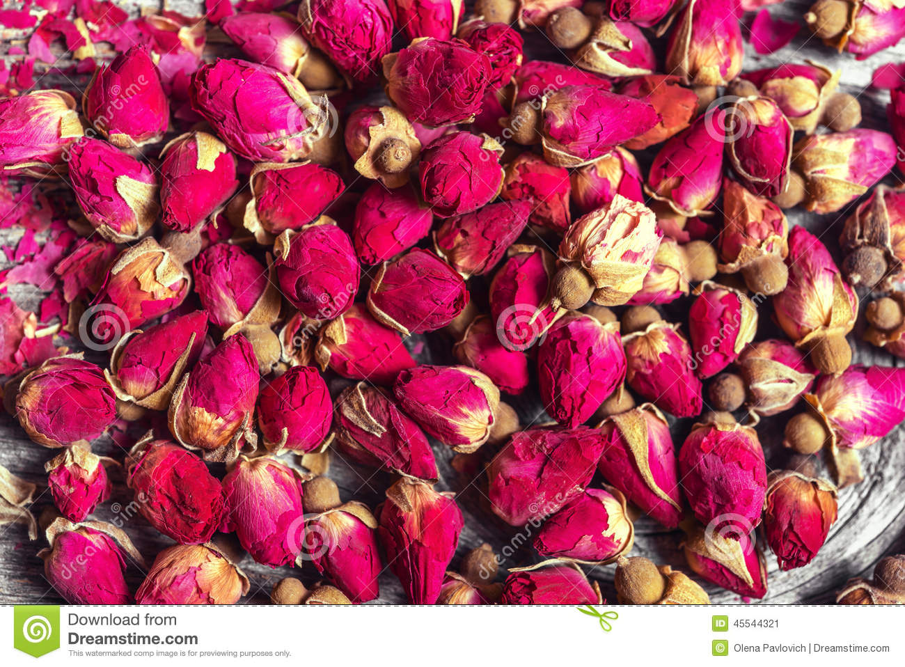Small dried tea rose buds