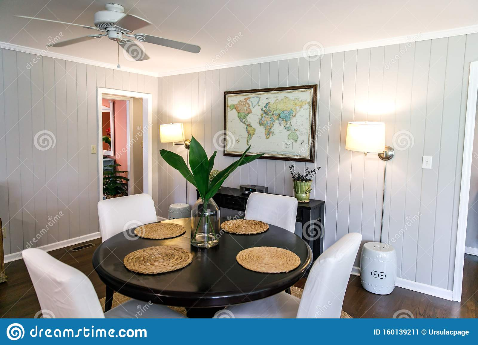 Small Eat In Kitchen Dining Room With A Small Table For Four Stock Image Image Of Chairs Family 160139211