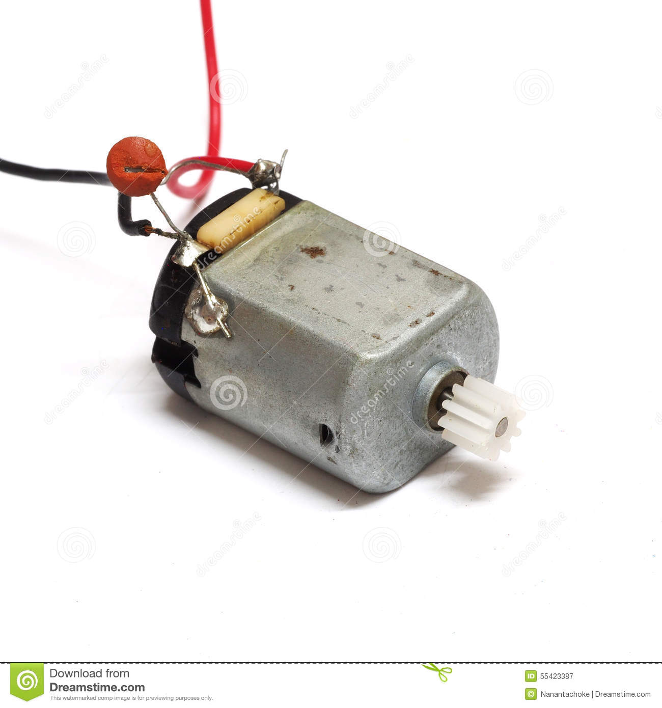Small Electric Motor Isolated On White Background Stock