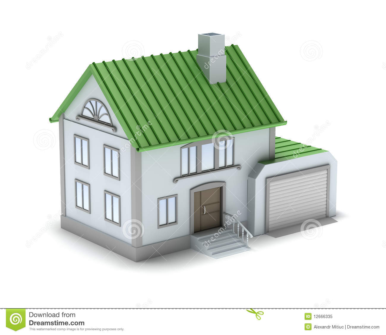 Penny háza Small-family-house-3d-image-isolated-white-12666335