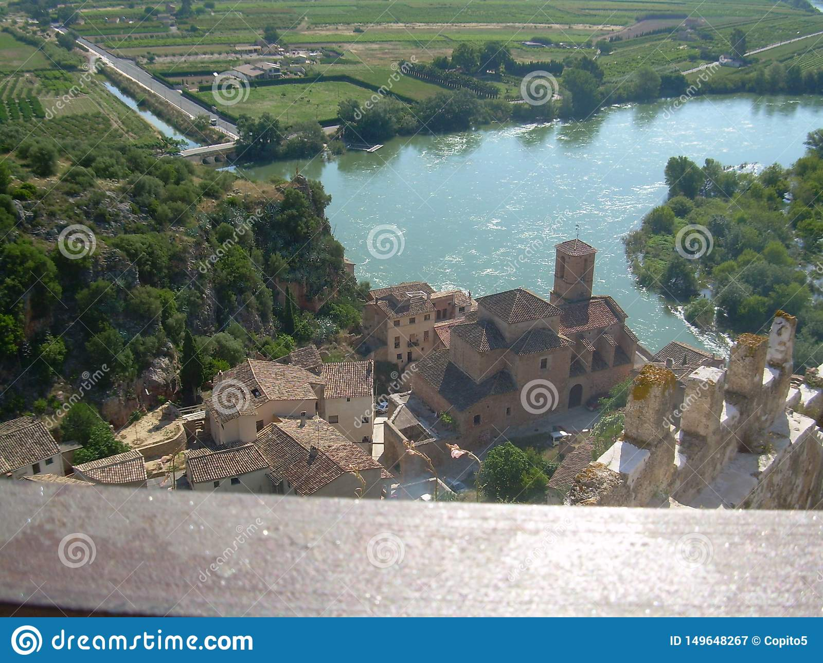 The town of Miravet with the river Ebro, Tarragona