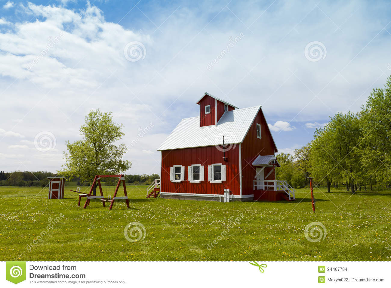 Small Farm House Stock Photo. Image Of Windows, Blue
