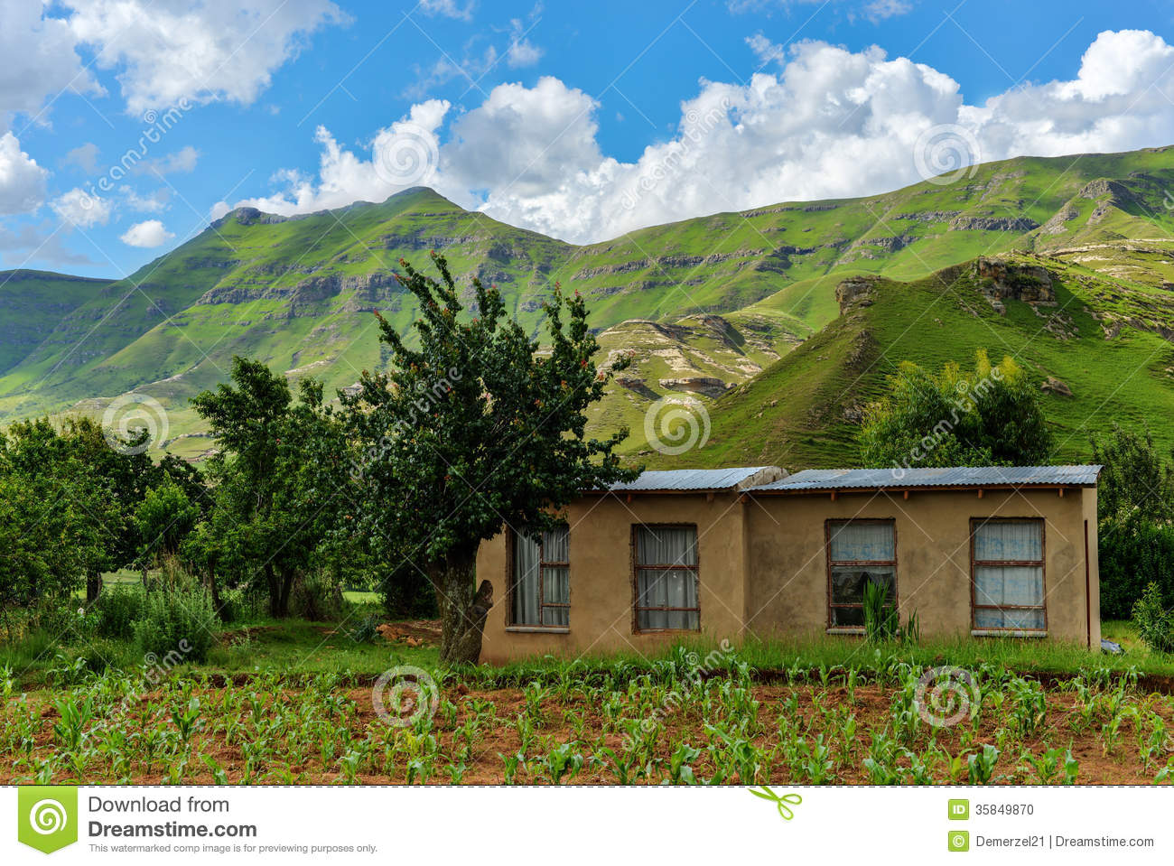 Small farmhouse in lesotho stock photo image 35849870 for Pictures of small farm houses