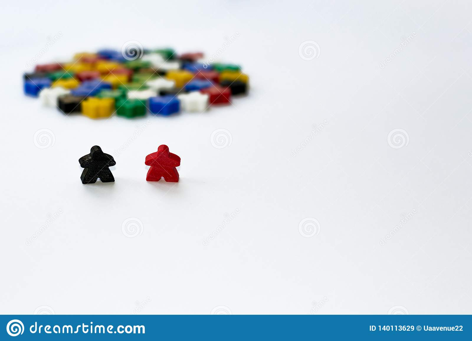 Small figures of man. Board games concept. Couple of leaders of community. Business strategy. Components of card games, friends,
