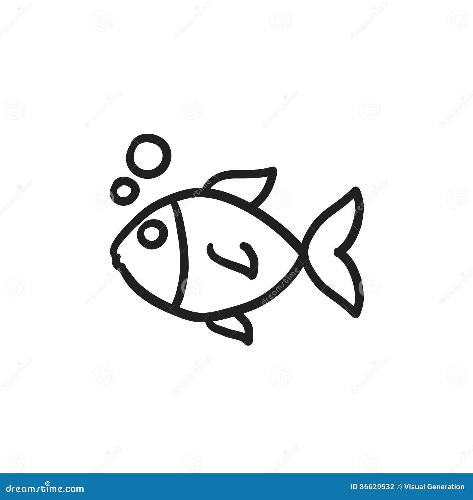 Small Fish Sketch Icon Stock Vector