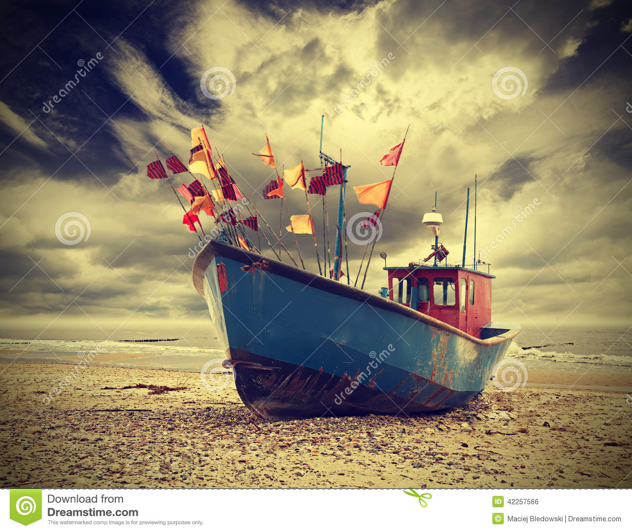 Small Fishing Boat On Shore Of The Baltic Sea Vintage