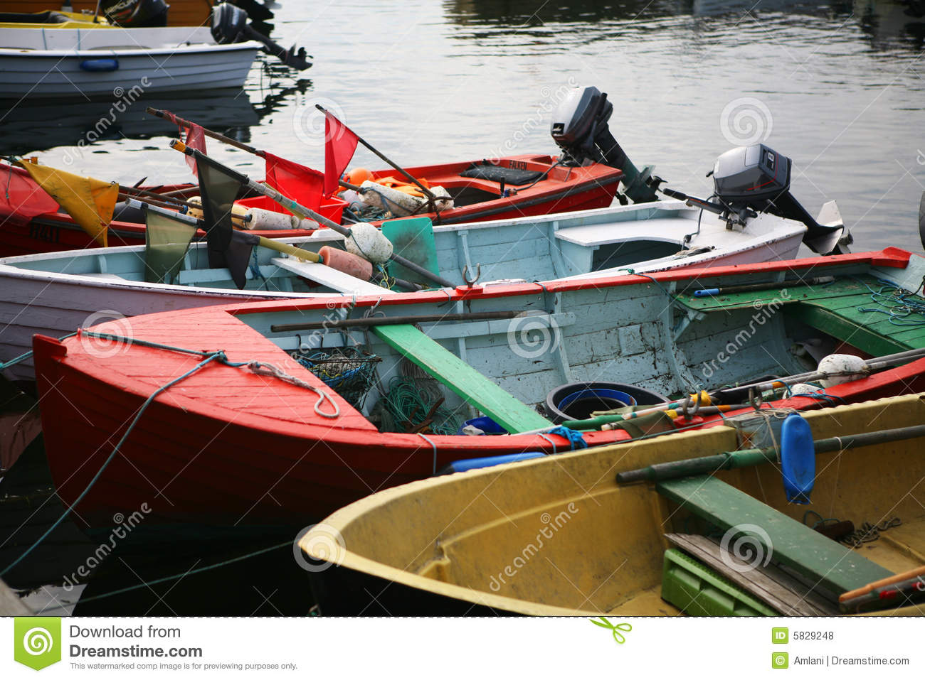 Small fishing boats stock photo image of fishing rope for Little fishing boats