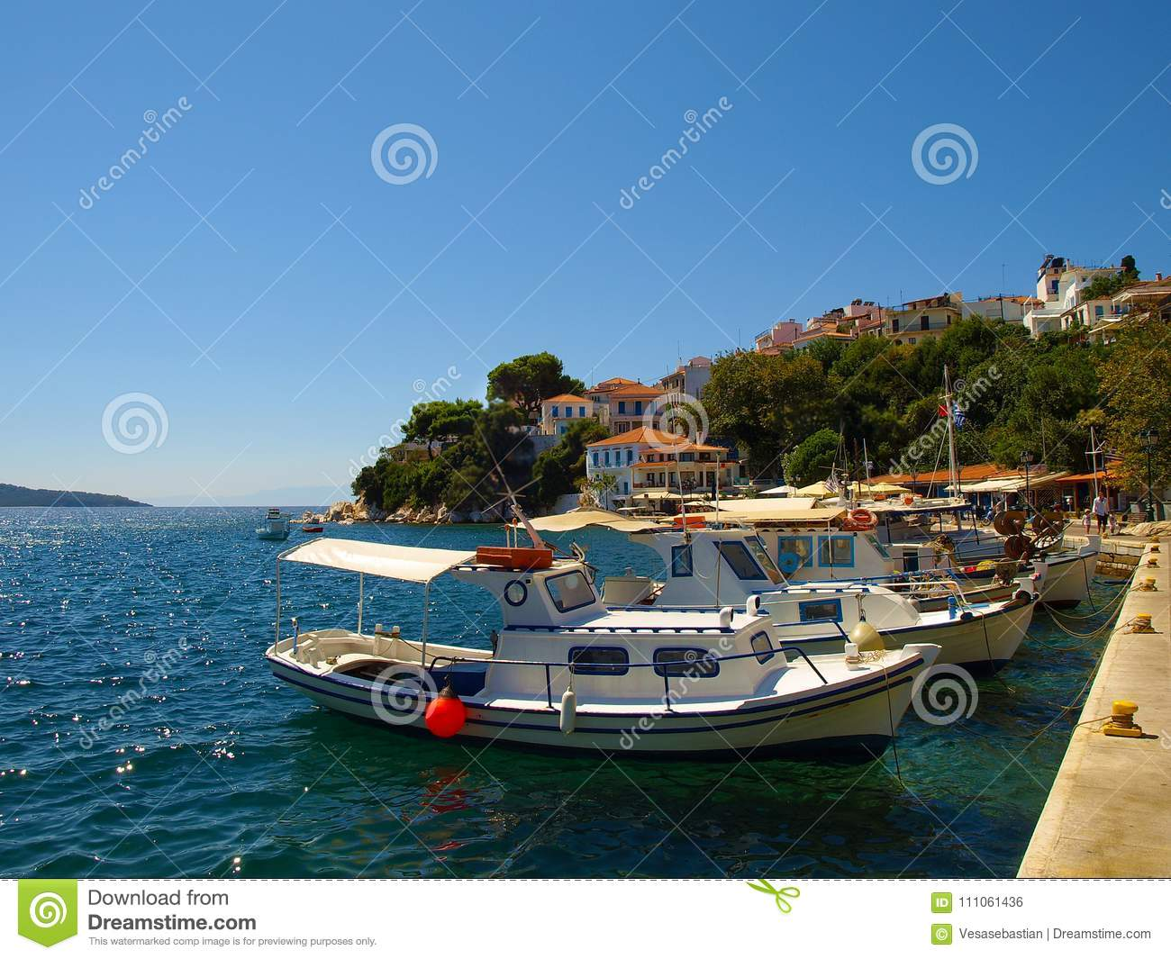 Small fishing boats anchored in the harbour of Skiathos town, Greece