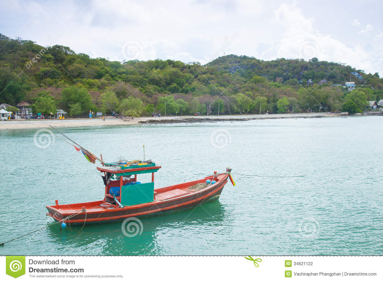 Small fishing boats moored in the sea stock photography for Small boats for fishing