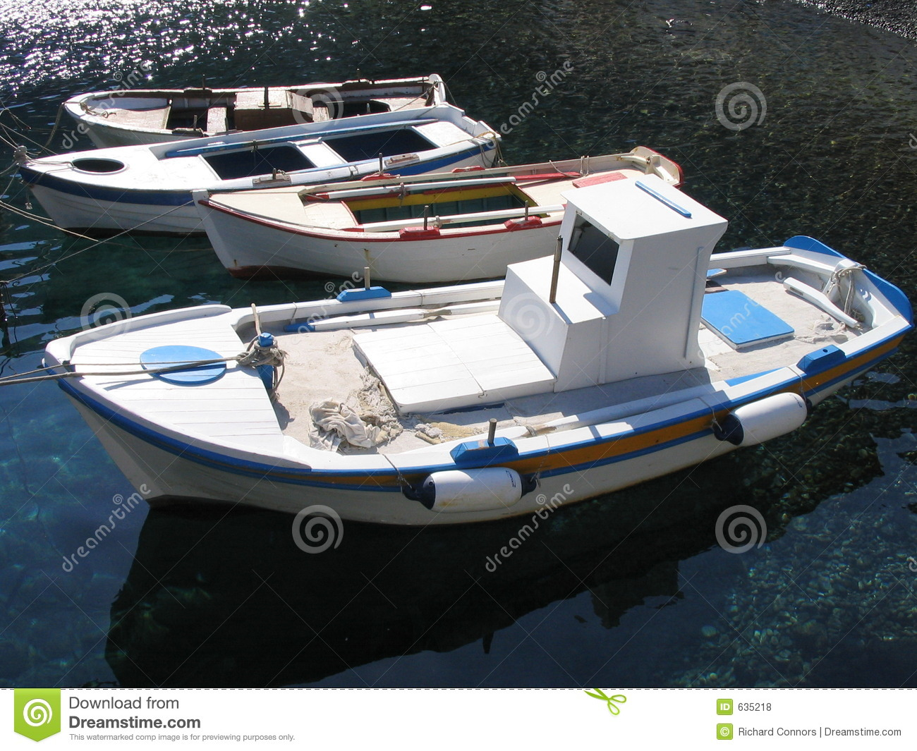 Small fishing boats santorini greece royalty free stock for Little fishing boats