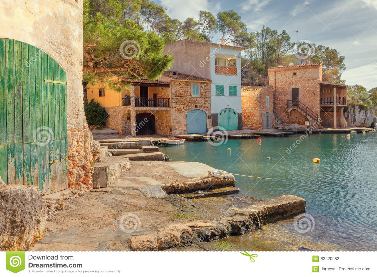 small fishing port in cala figuera santanyi mallorca spain stock photo image 83220982. Black Bedroom Furniture Sets. Home Design Ideas