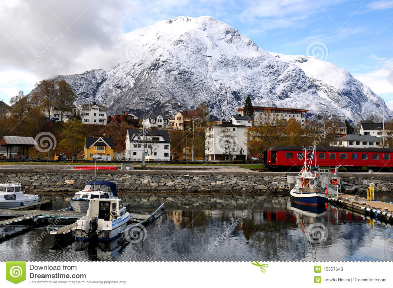 Small fishing village, fjord, Norway
