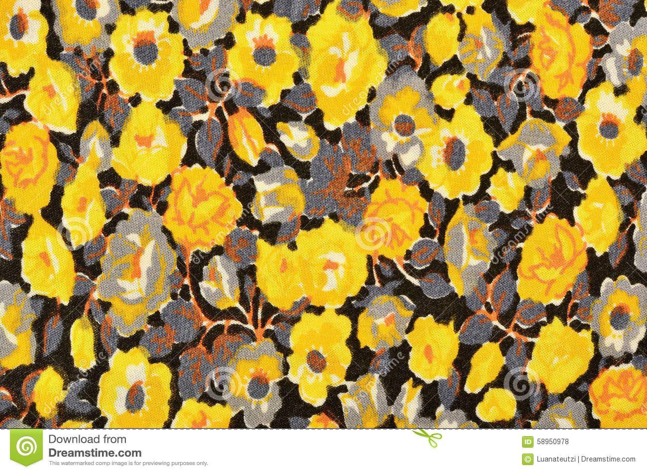 Small Floral Pattern On Black Fabric Stock Illustration