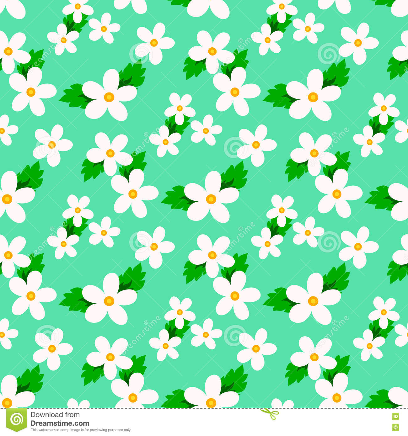 Small Flower Vector With Seamless Pattern Stock Vector