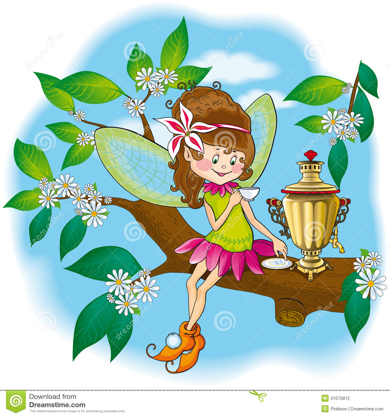 Small forest fairy tea drinkers