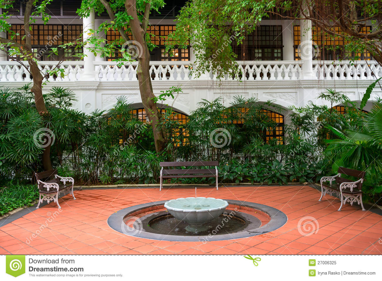 Awe Inspiring Small Fountain In A Garden With Benches Stock Image Image Caraccident5 Cool Chair Designs And Ideas Caraccident5Info