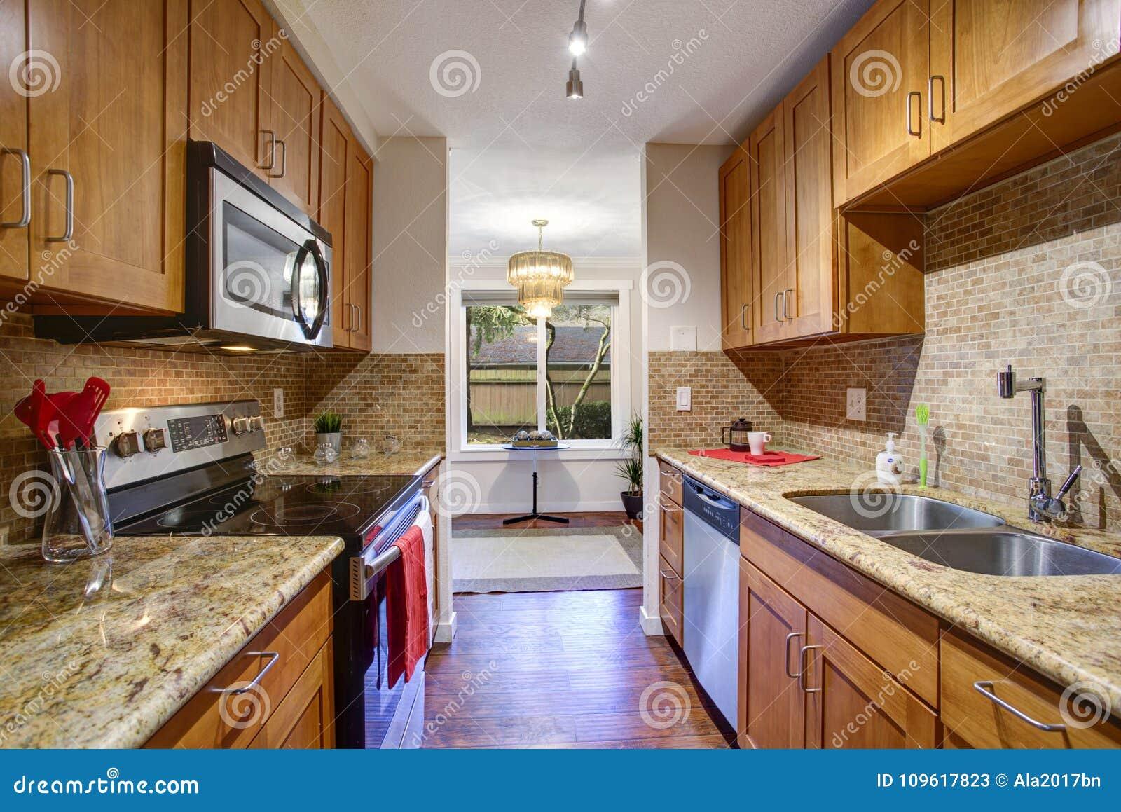 Small Galley Kitchen Design With Black Kitchen Appliances