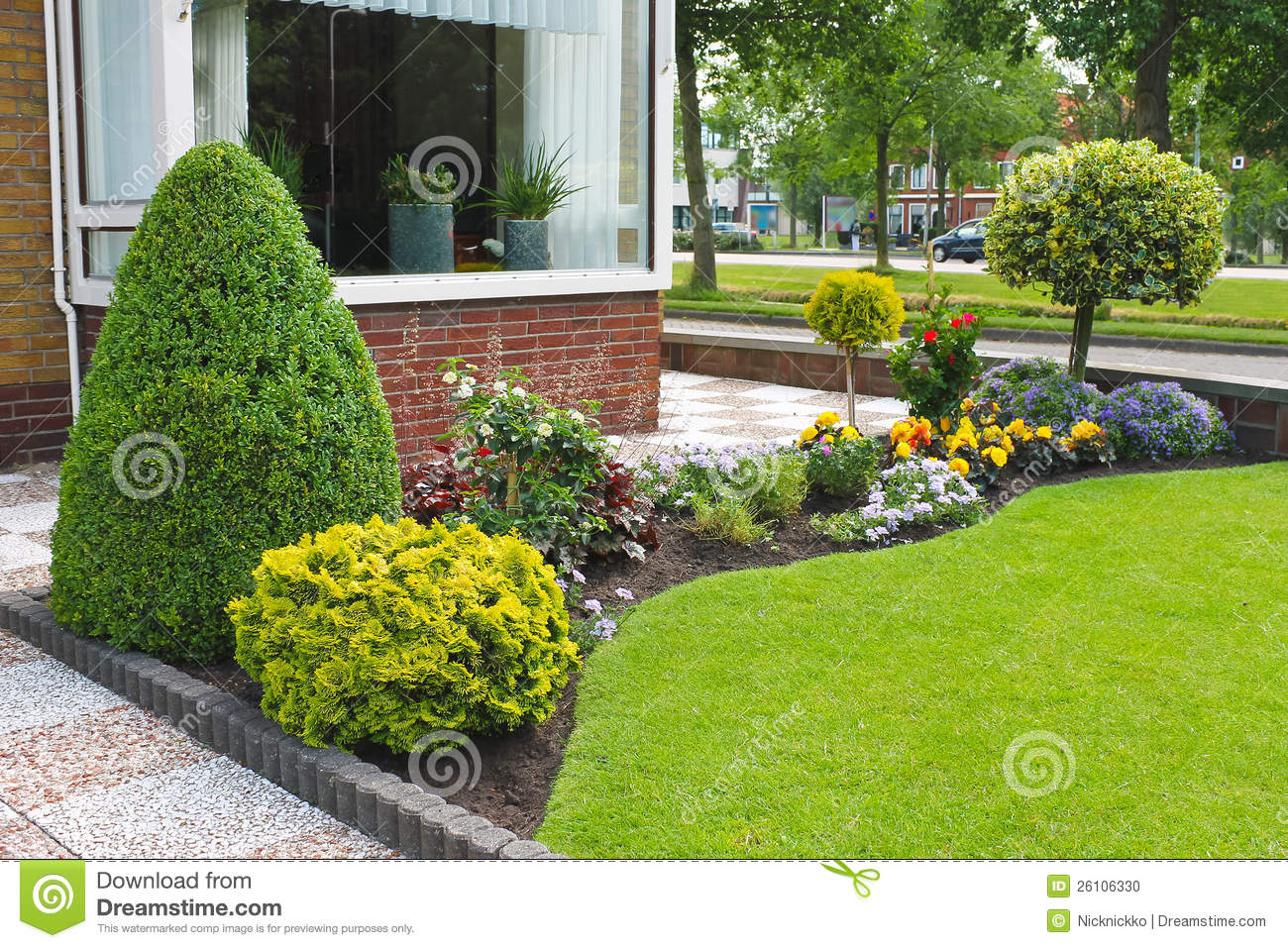 Small Garden In Front Of The Dutch House. Stock Photo ...