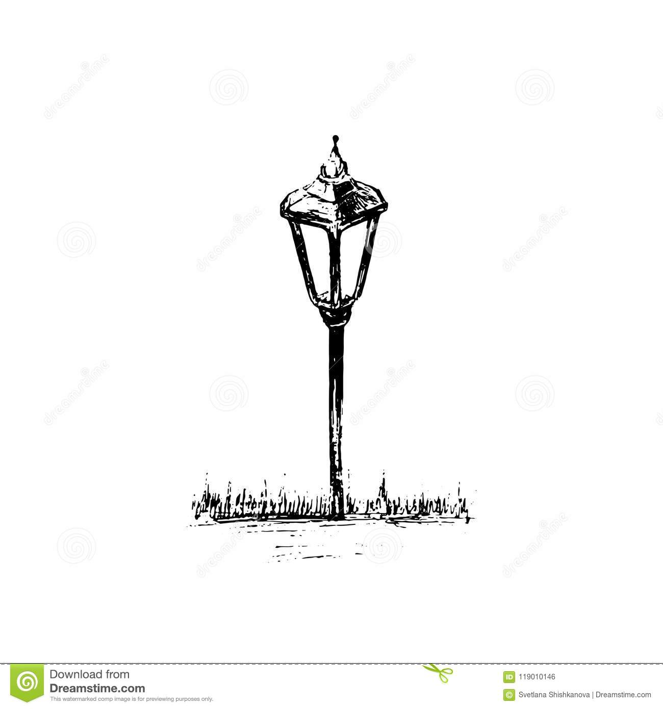 Solar powered lamp drawing pencil sketch of lantern hand drawn