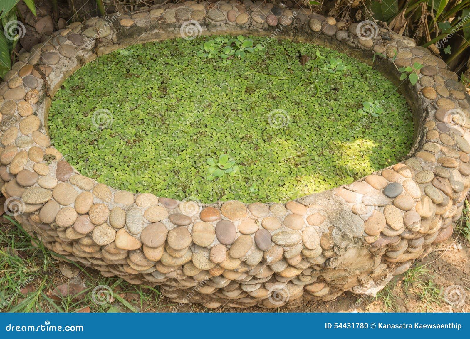 Small garden pond made of gravel stones stock photo for Garden pond gravel