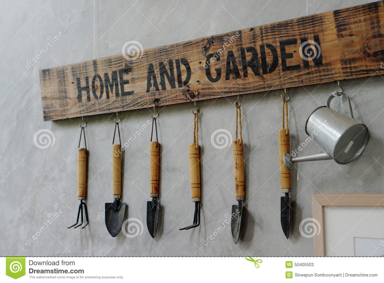 hanging tools on wall small garden tools hanging on the wall stock image image 4145