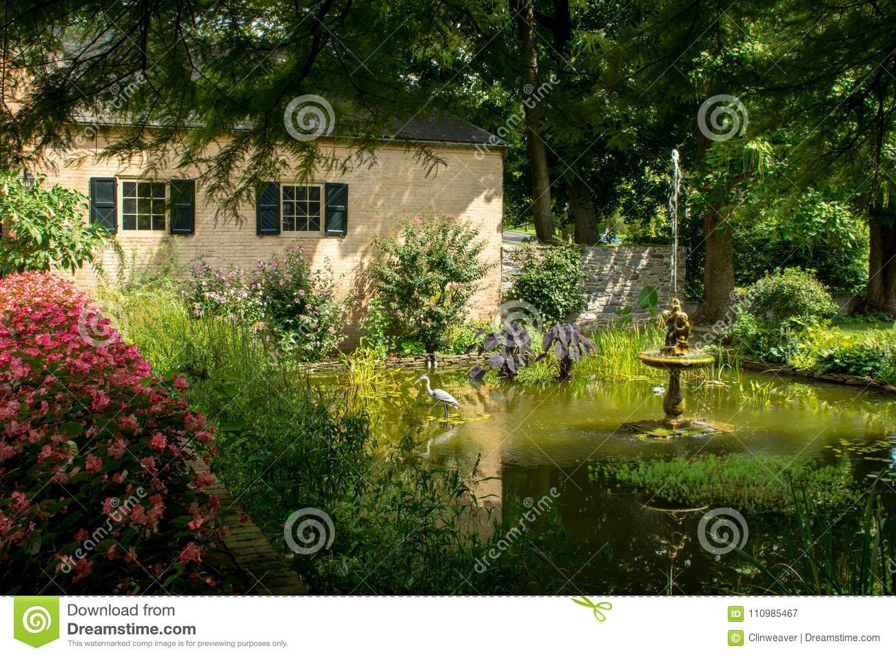 Download Small Garden Water Fountain Stock Image   Image Of Heron,  Architecture: 110985467