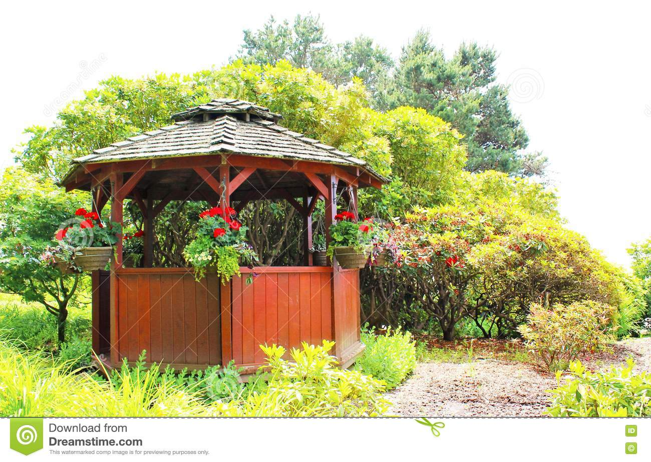 A small gazebo in a garden