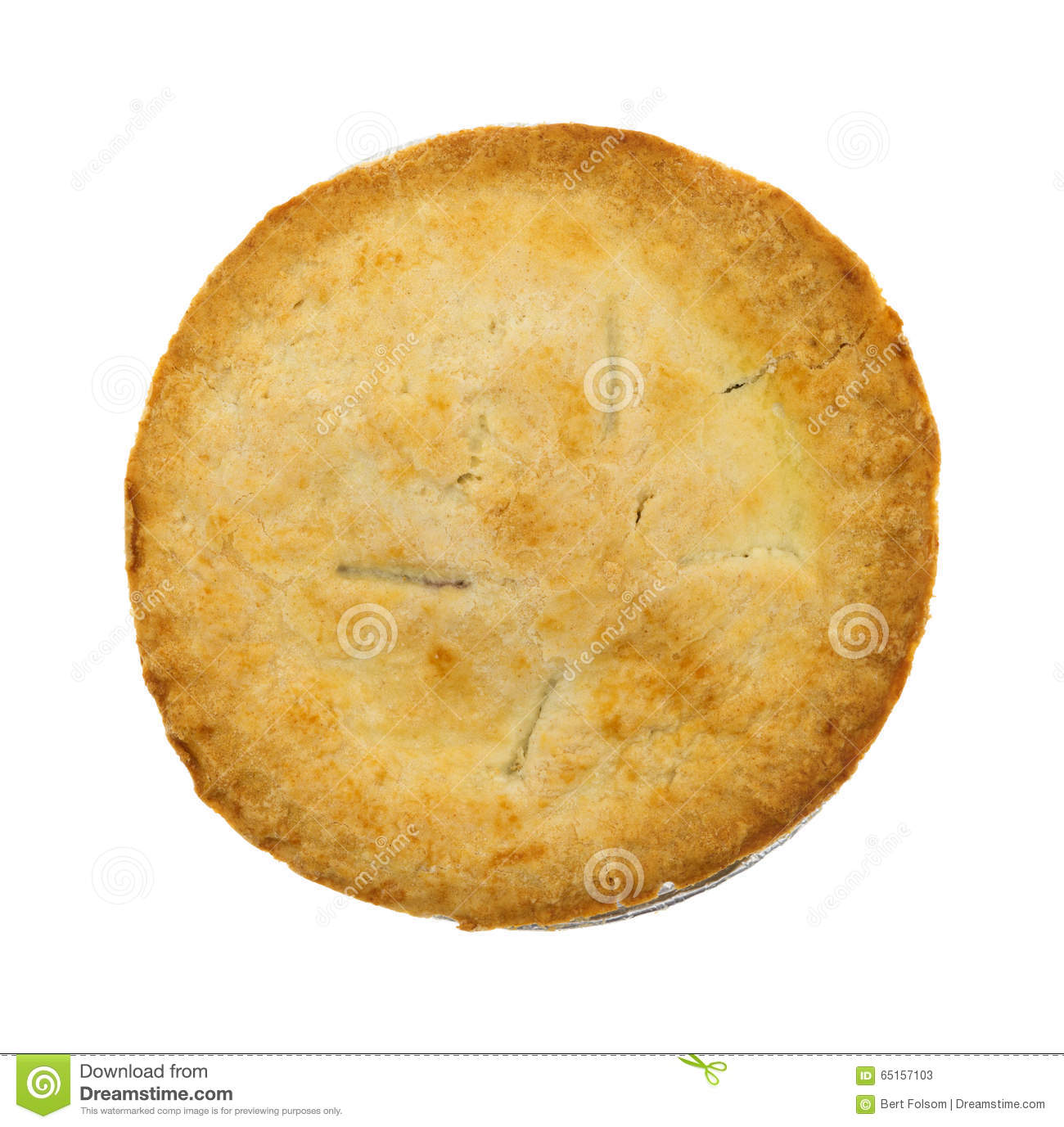 small generic personal size fruit filled pie top view stock image