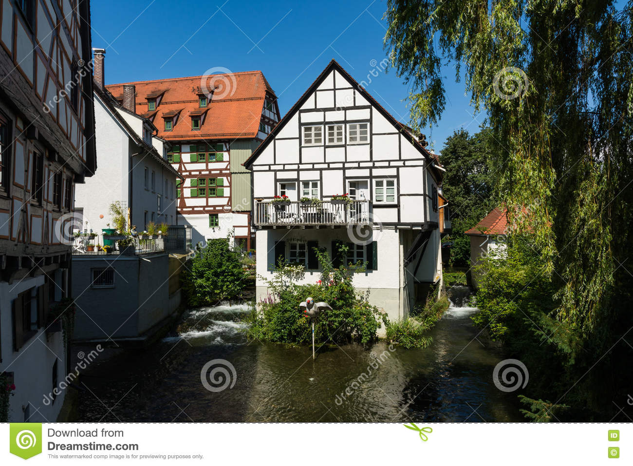 Small German Cottage Balcony On River In Ulm Stock Photo
