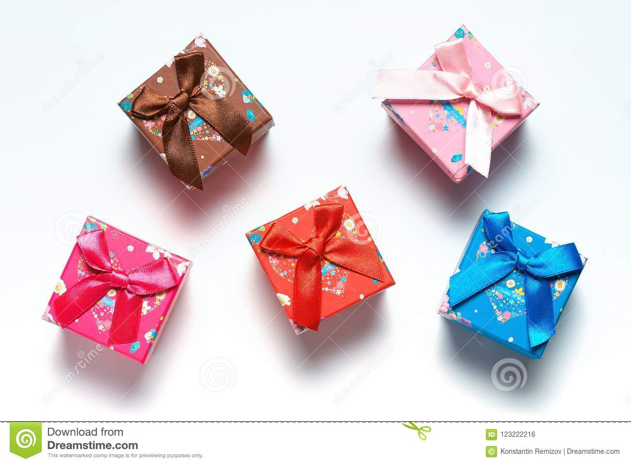 Gift Boxes Scattered Over White Background Stock Photo Image Of