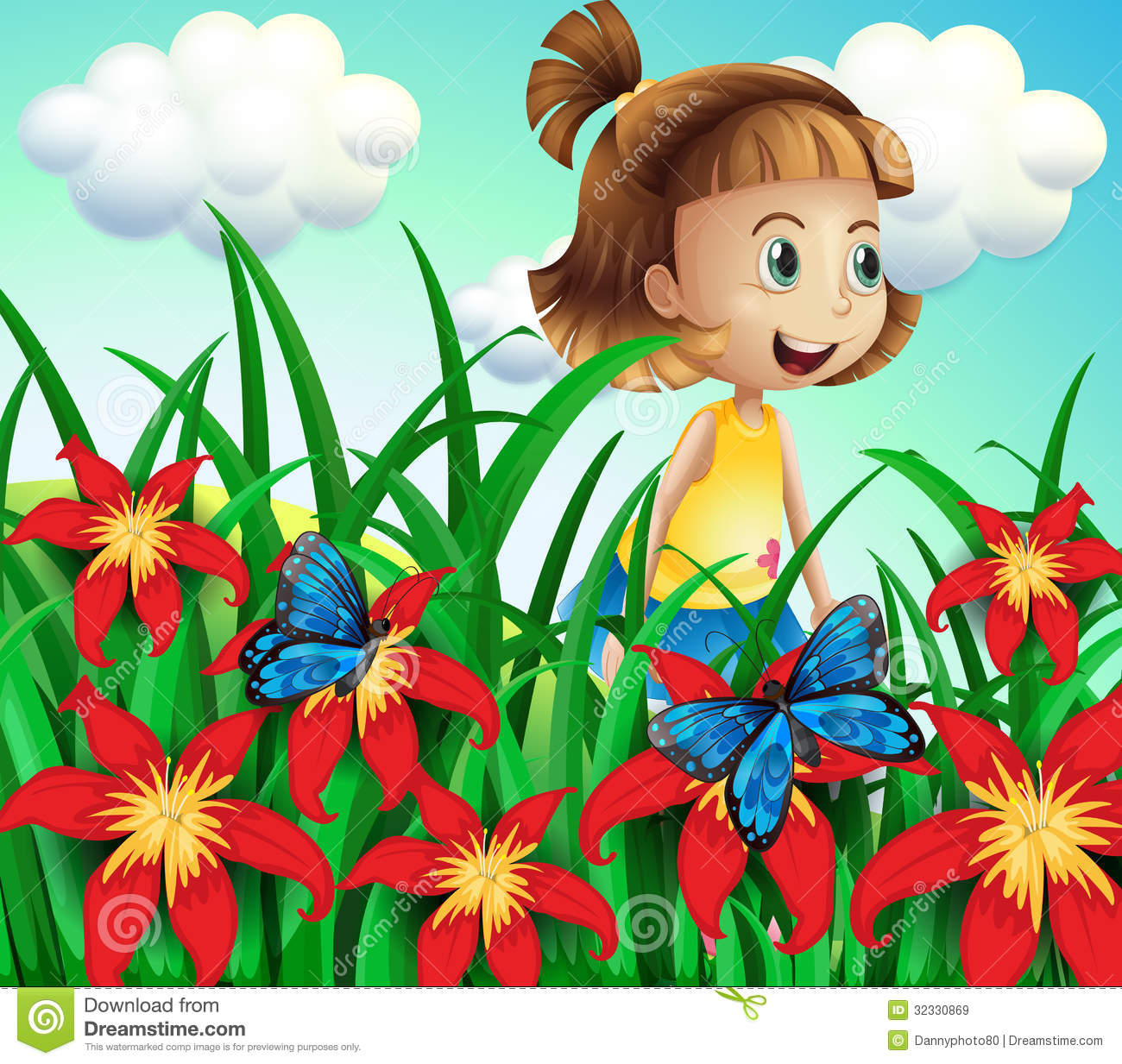 a small girl at the flower garden with butterflies royalty free, Garten ideen