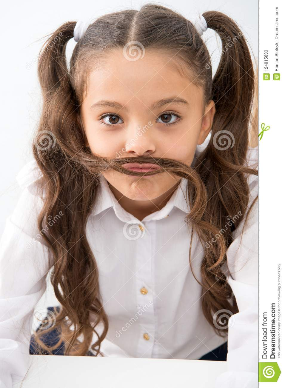 Small Girl With Funny Mustache Small Girl With Long Hair Style