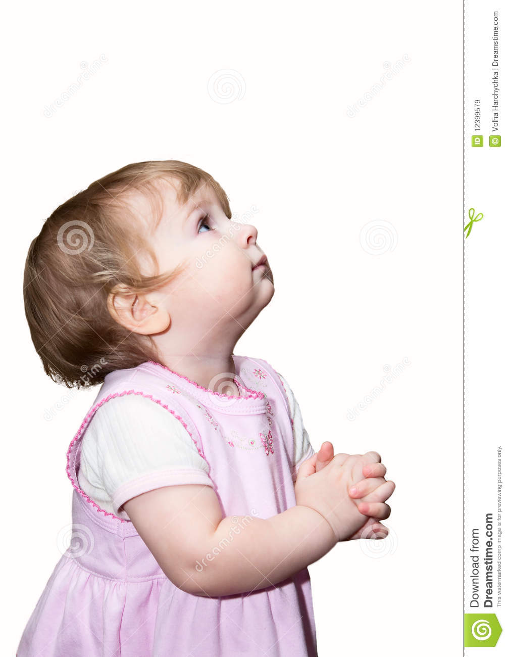 Small Girl Praying With Hands Together Stock Image Image Of